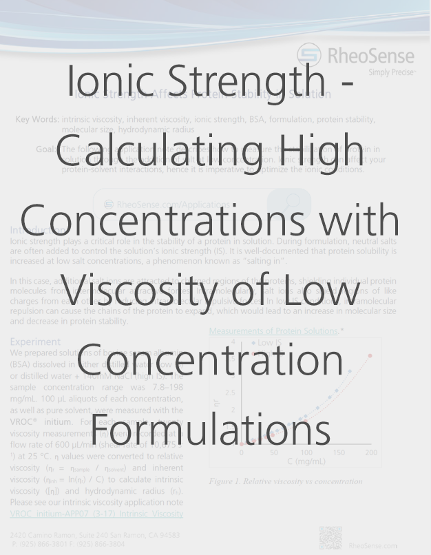 Ionic Strength - Calculating the Viscosity of High Concentration Proteins